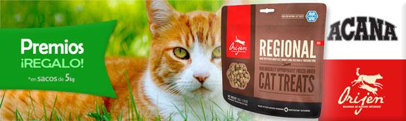 Premios de regalo con pienso para Gato Acana y Orijen