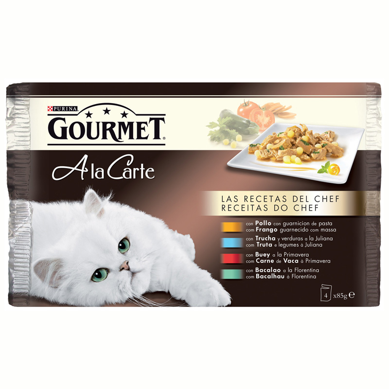 Gourmet a la Carte Chef's Recipes with Chicken, Beef, Trout, Cod 4x85gr