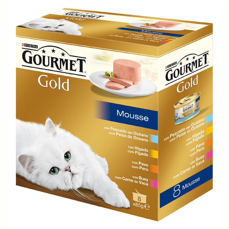 Gourmet Gold Mousse with Ocean Fish, Liver, Turkey and Beef 8x85gr