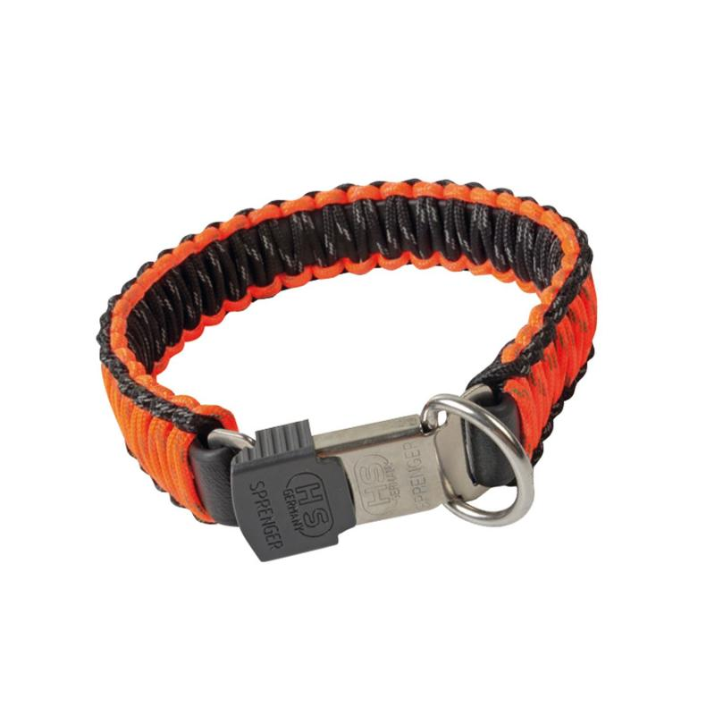 HS Sprenger Orange Paracord Collar With Lock Clasp