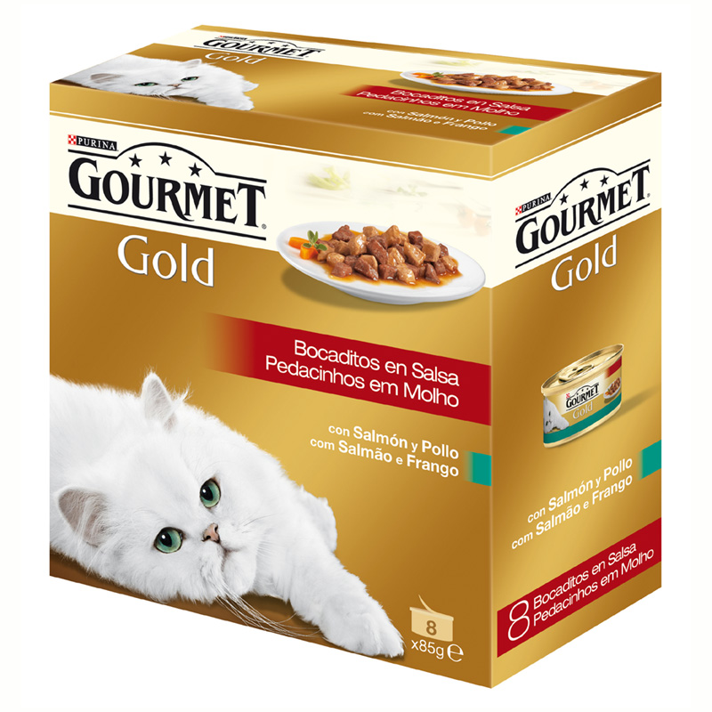 Gourmet Gold Chunks in Gravy with Salmon & Chicken 8x85gr