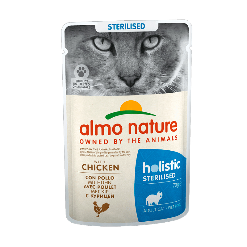 Almo Nature Adult Cat Sterilised con Pollo en salsa 70gr