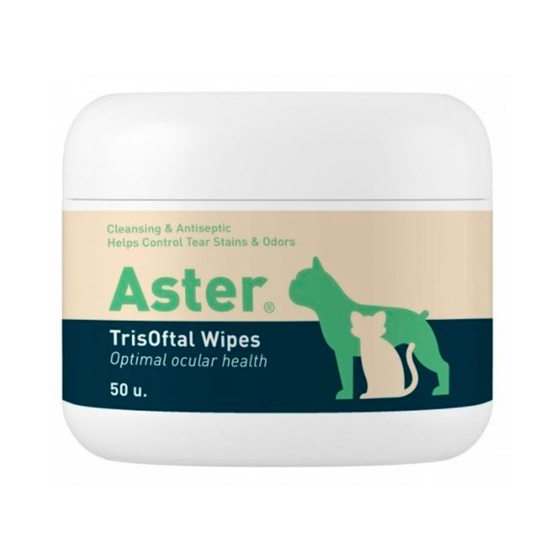 ASTER TrisOftal Wipes. Wipes for periocular cleaning and labial commissures in dogs, cats and horses.