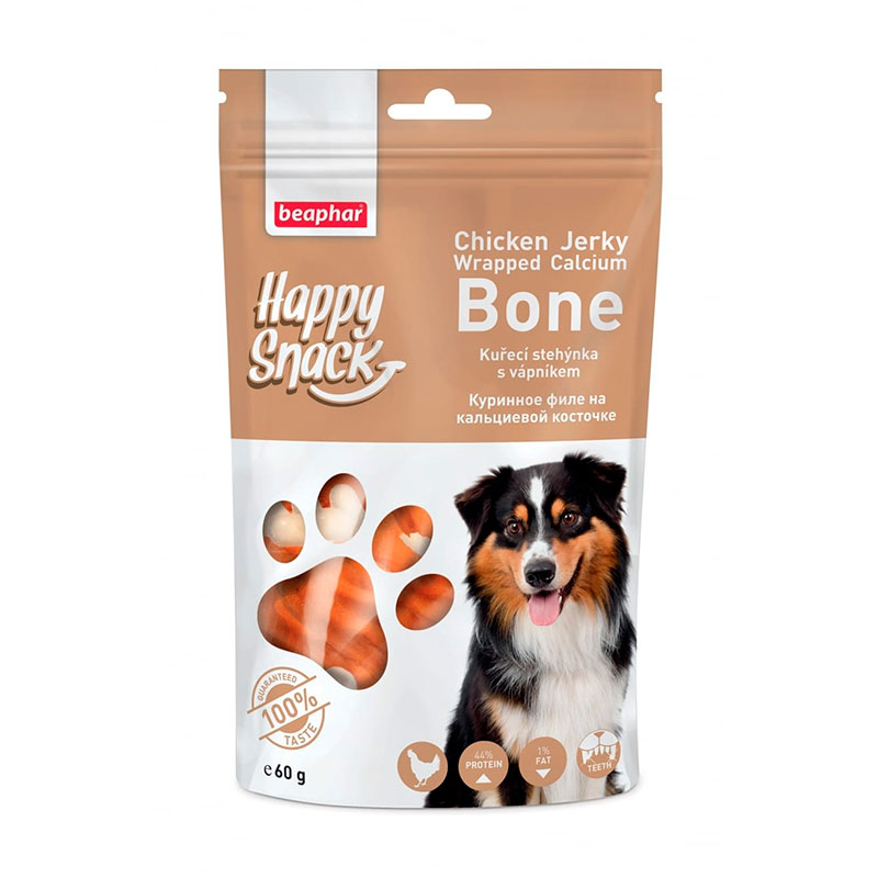 Beaphar Happy Snacks Chicken Jerky Wrapped Calcium Bone for dogs