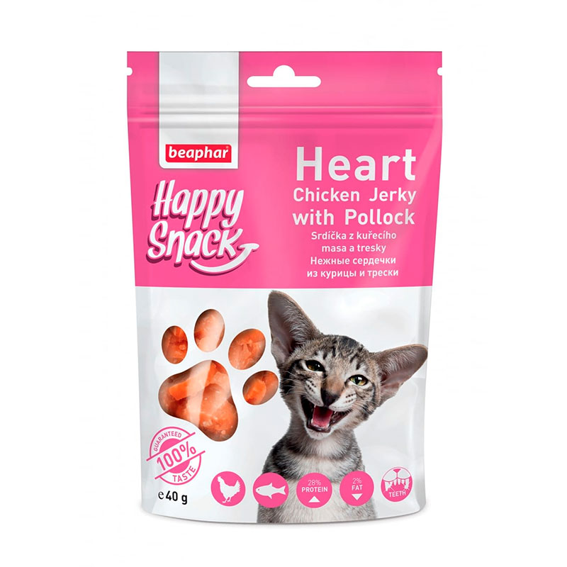 Beaphar Happy Snacks Heart Chicken Jerky with Pollock for cats