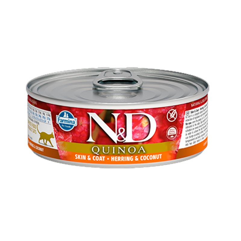 Farmina N&D Grain Free Quinoa Feline Skin & Coat Herring can