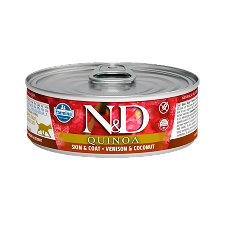 Farmina N&D Grain Free Quinoa Feline Skin & Coat Venison Can