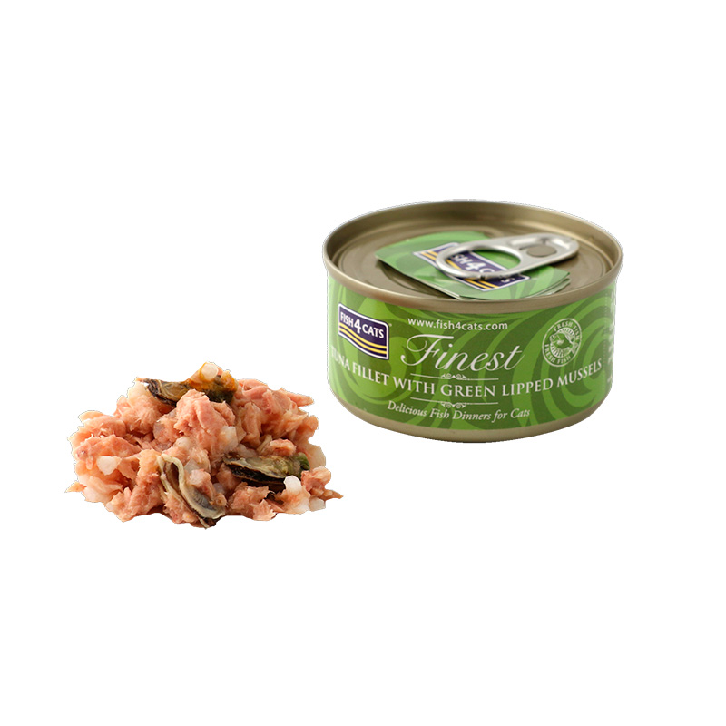 Fish4Cat Tuna Fillet with Green Lipped Mussel 70g. Wet cat food.