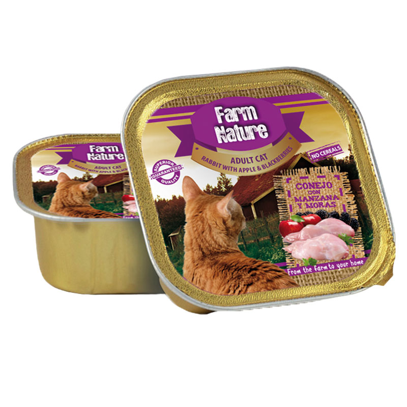 Farm Nature Adult Cat Rabbit with Apple & Blackberry. Wet food cats