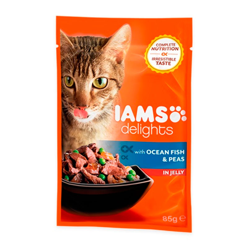 Iams Cat Wet Ocean Fish Peas in Jelly 85 gr