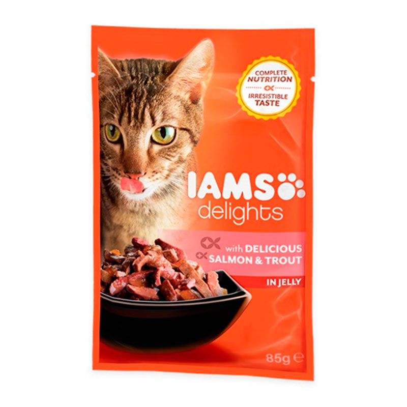 Iams Cat Wet Salmon Trout in Jelly 85 gr
