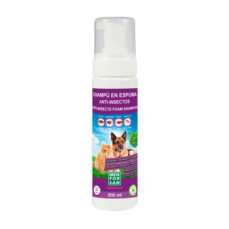 Menforsan anti-insect dry foam dogs & cats with margosa, geraniol, lavandino 200ml