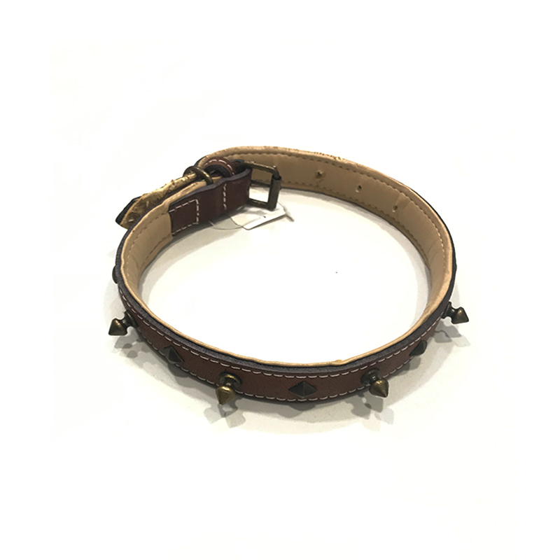 Malucchi Leather Necklace Decorated with Brown Metal Pieces