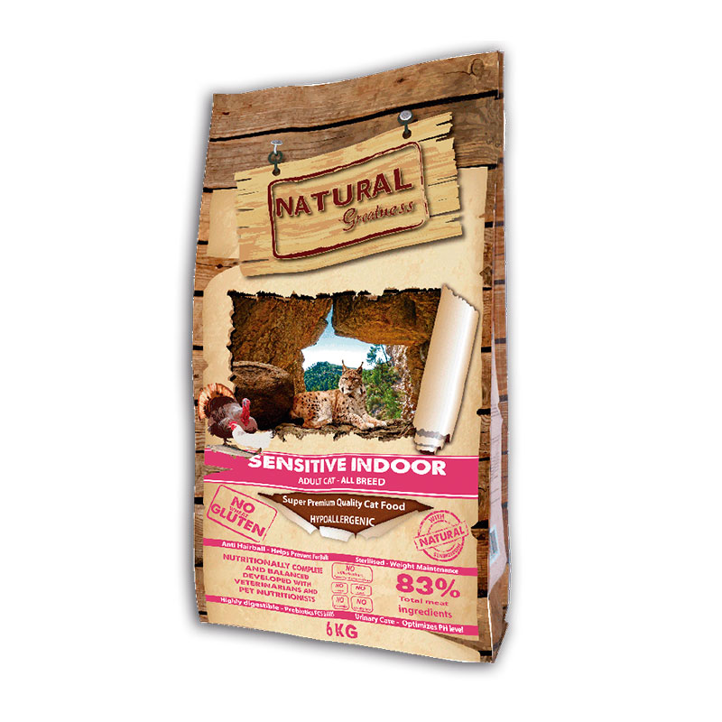 Natural Greatness Receta Sensitive Indoor para gatos adultos 6Kg
