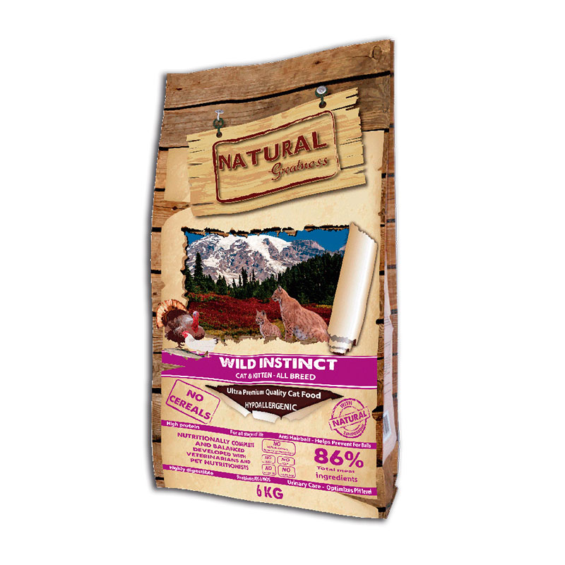 Natural Greatness Receta Wild Instinct para gatitos y gatos adultos 6Kg