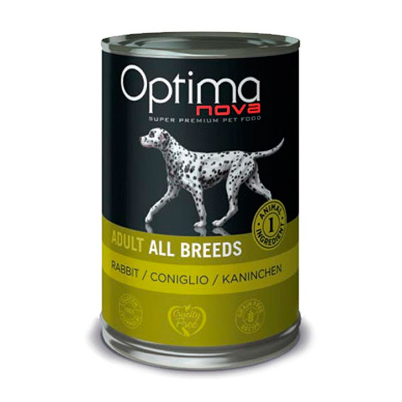 Optimanova Adult All Breeds Grain Free Rabbit. Comida Húmeda para perros.
