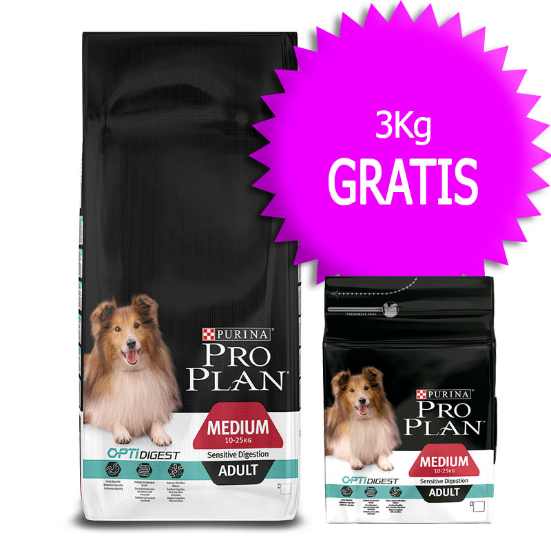 Purina Pro Plan Adulto Razas Medianas OptiDigestion con pollo 14Kg+3Kg Gratis