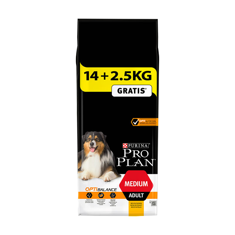 Purina Pro Plan Adulto Razas Medianas OptiHealth 14Kg+2.5Kg Gratis