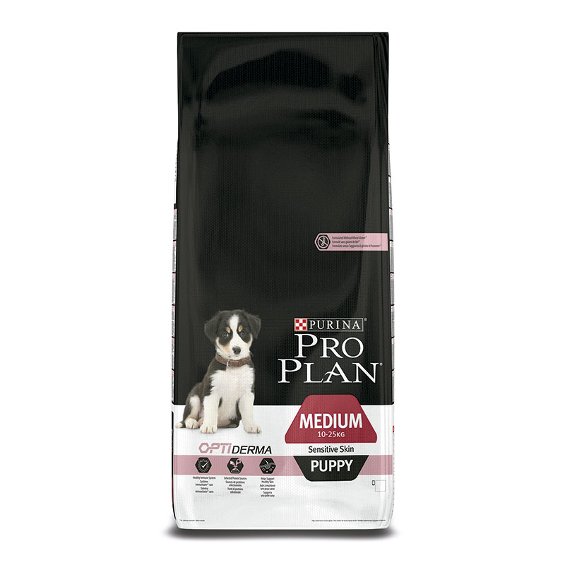 Purina Pro Plan Puppy Razas Medianas OptiDerma Sensitive Skin Salmón y Arroz 12Kg