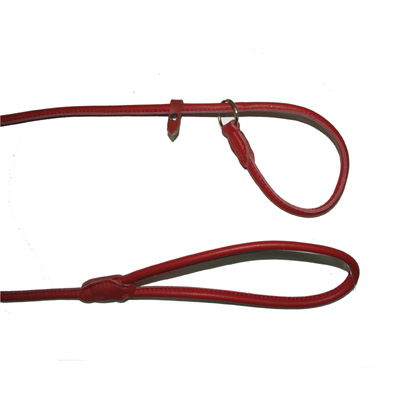 Leather Drowing Round Leash Delhi Red