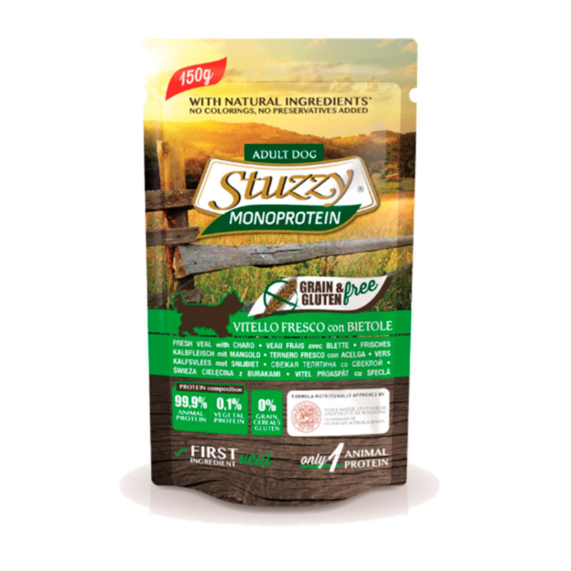 Stuzzy Dog Pouch Grain Free About Monoprotein Veal with Swiss Chard