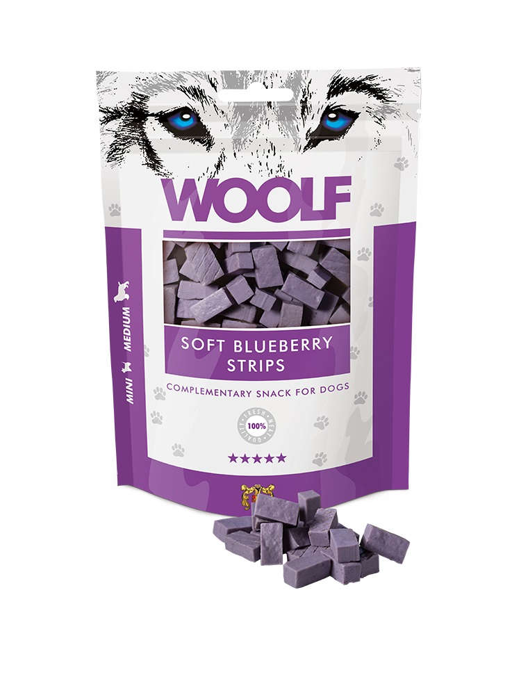 Woolf Soft Blueberry Strips 100gr