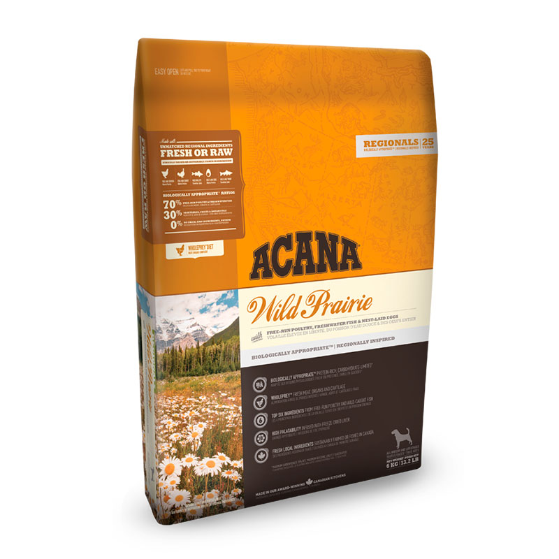 Acana Wild Prairie Harvest feed for dogs (without cereals)