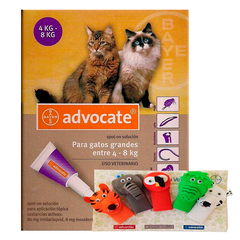 Internal and External Antiparasitic Advocate Cats 4 - 8kg+Finger puppets