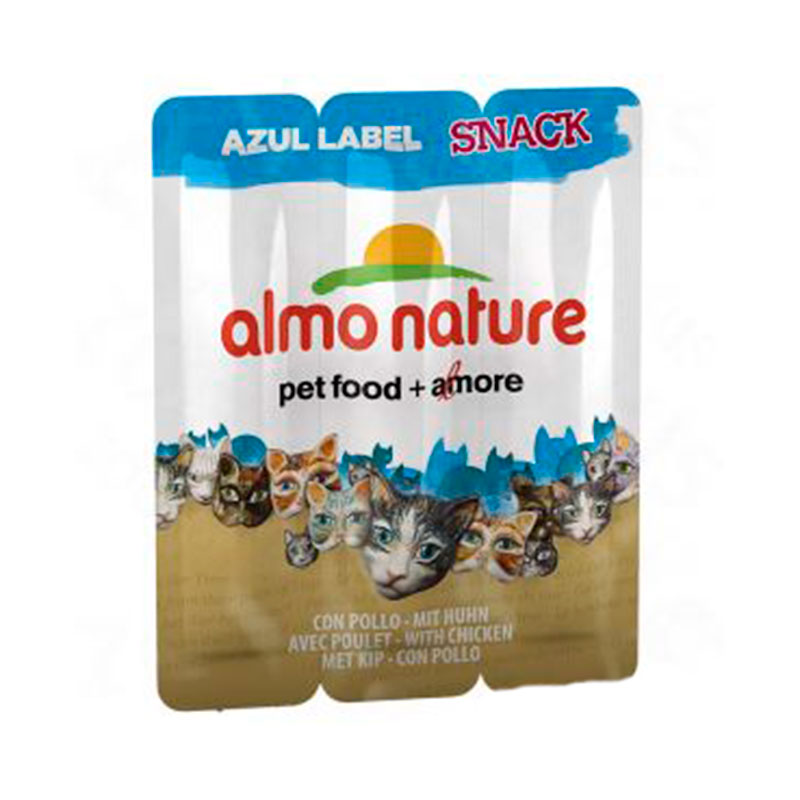Almo Nature Azul Label Snack con Pollo Gatos 3x5gr
