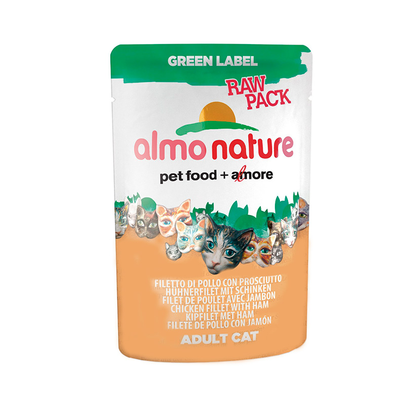 Almo Nature Green Label Raw Pack Filete de Pollo con Jamón 55gr. Lata Gatos