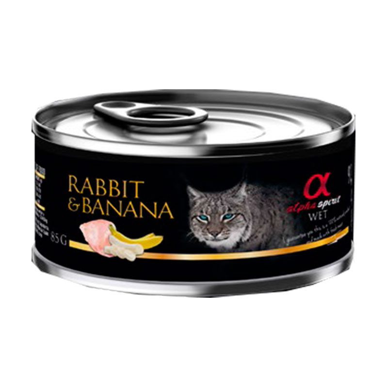 Alpha Spirit Wet Foof for Cats Rabbit with Banana 85 GR