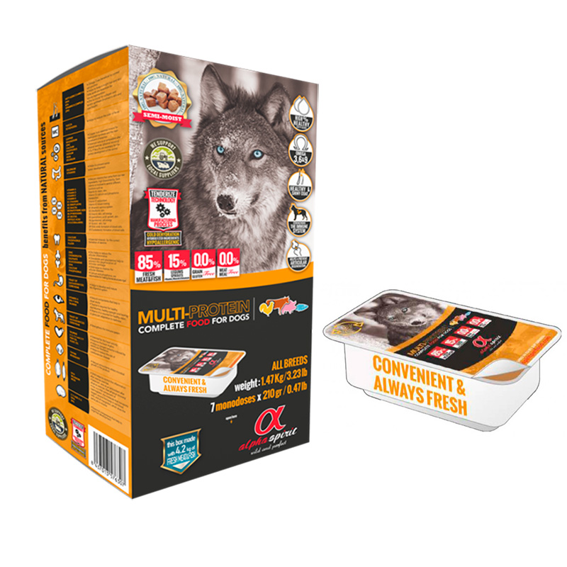 Alpha Spirit Multiprotein. Natural Food for Dogs Semi-Wet