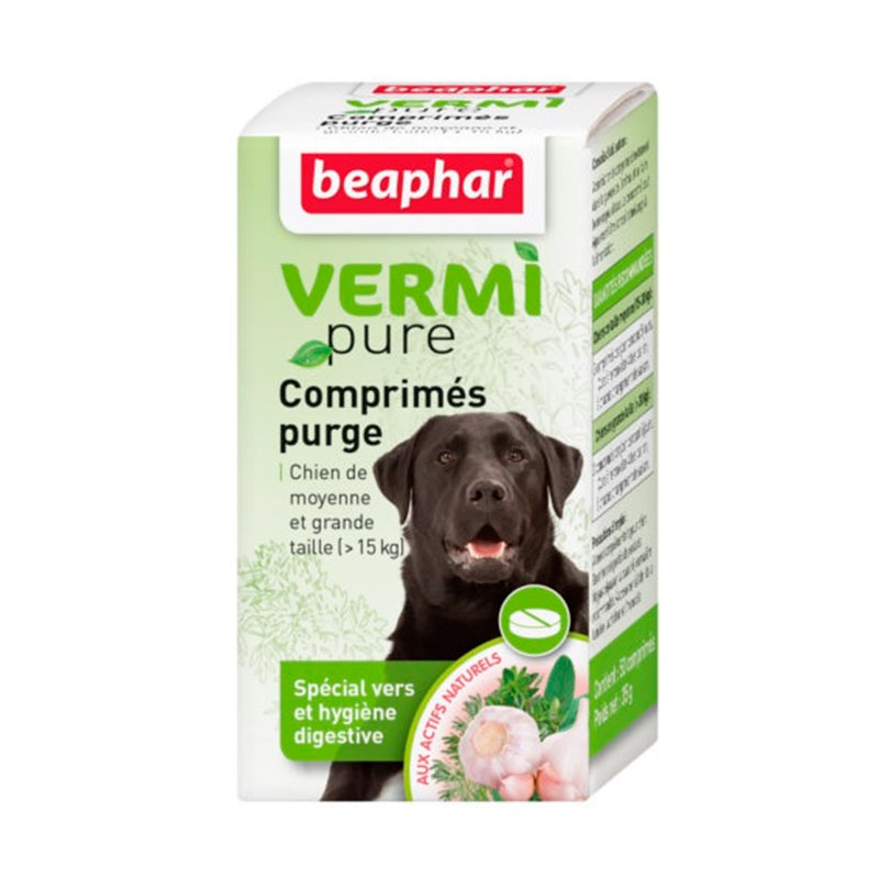 Beaphar Vermi Pure Natural 100% Internal antiparasitic plants (tabs) (> 15kg) large dog