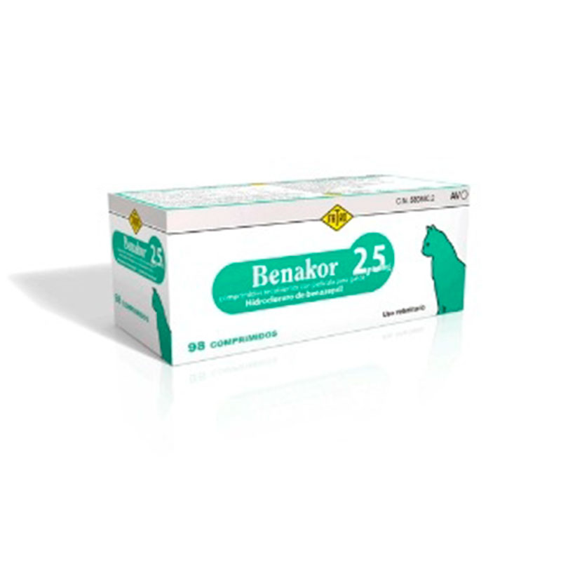 Benakor 2,5mg. Treatment of heart failure and chronic renal failure in cats