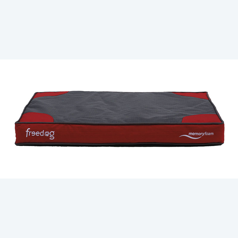 Red Memory Foam Flat Dog Bed