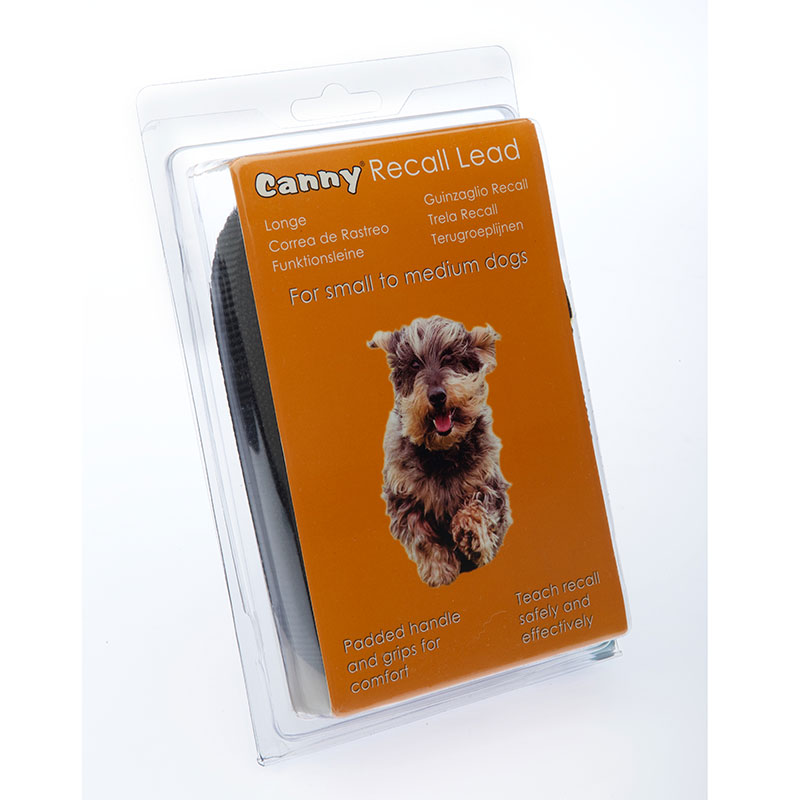 Cannycollar Canny Lead Recall Black Small-Medium Dogs