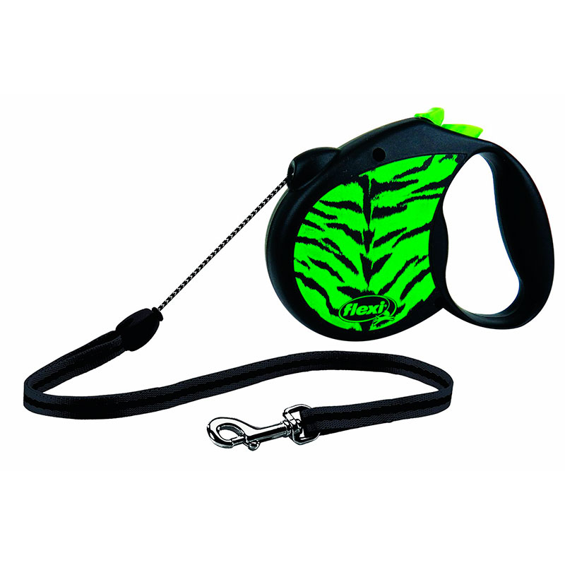 Retractable Leash flexi Safari Green Tiger