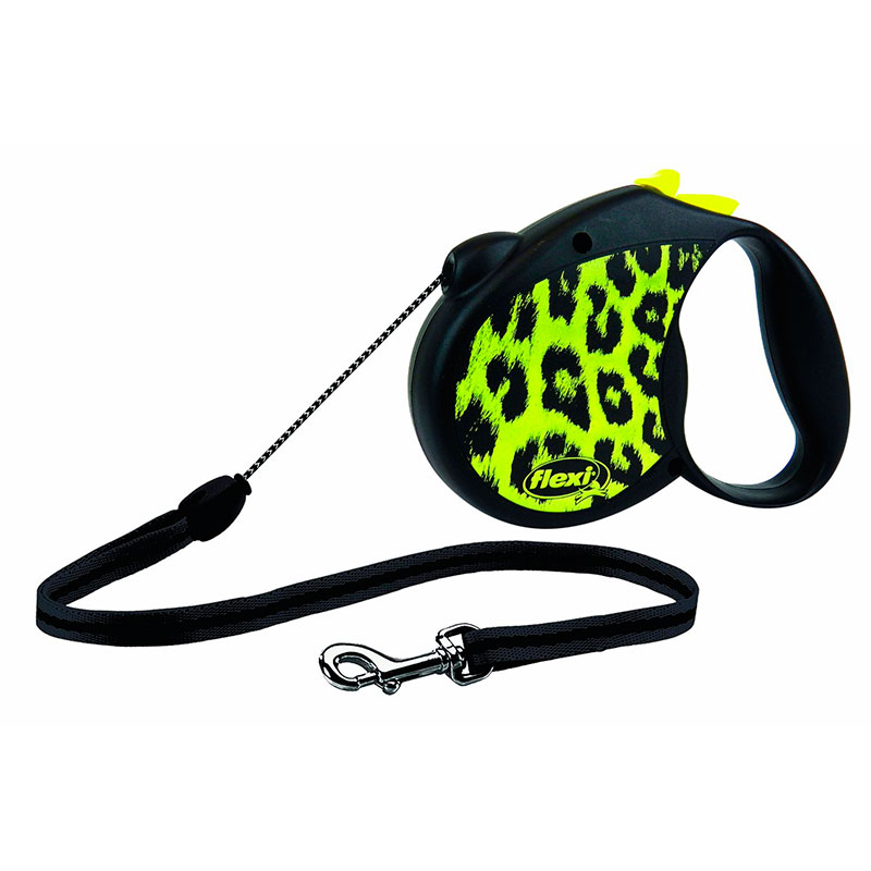 Retractable Leash flexi Safari Yellow Leopard