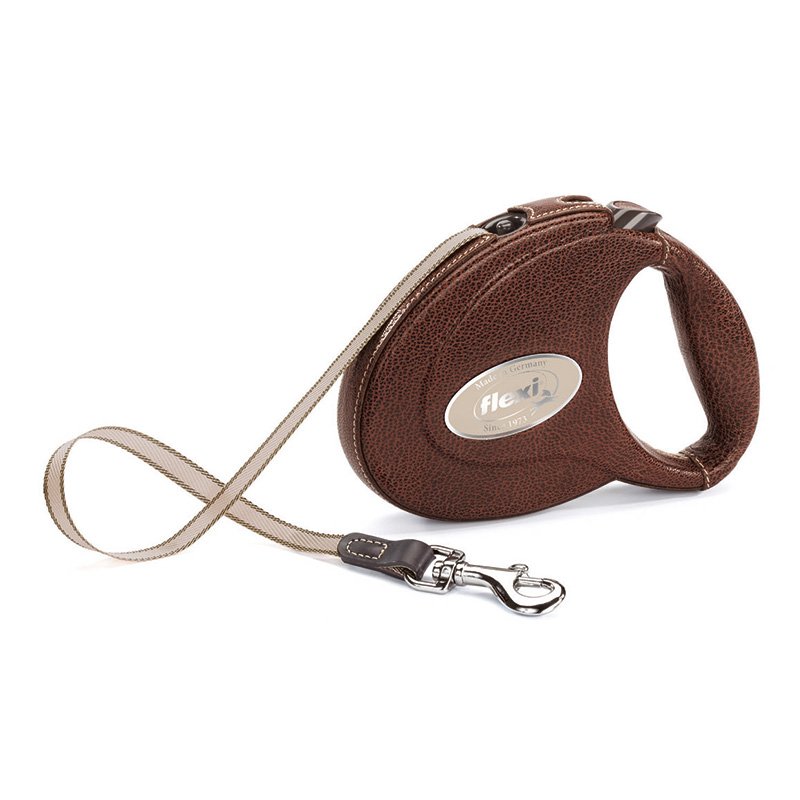 Retractable Leash flexi Luxury Leather Brown