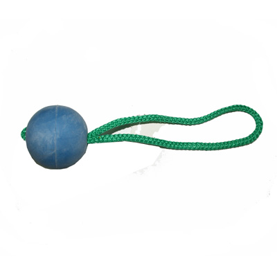 HS Sprenger Soft Rubber Ball with Rope Blue