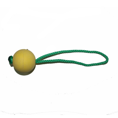 HS Sprenger Soft Rubber Ball with Rope Yellow