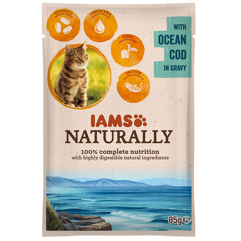 Iams Naturally Adult Cat with Ocean Cod in Gravy 85gr