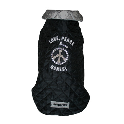 United Pets Raincoat Love&Peace&Bones Black