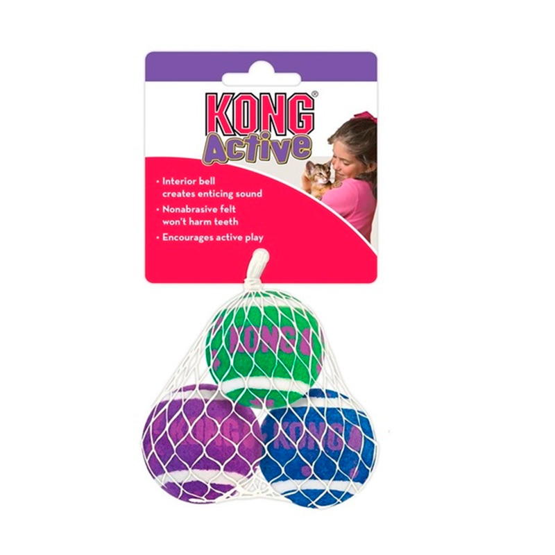 Air Kong Tennis Balls With Bells Cat Toy