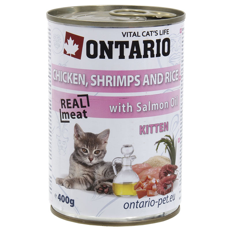 Ontario Kitten Chicken & Shrimp & Rice with Salmon Oil