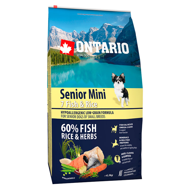 Ontario Superpremium Hypoallergenic Senior Mini Fish & Rice