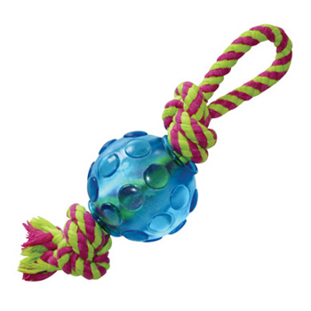 Orka Mini Ball with Rope Petstages Rubber Dog Toy