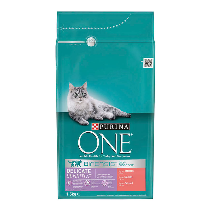 Purina One Gatos Digestión Sensible rico en Salmón y Arroz