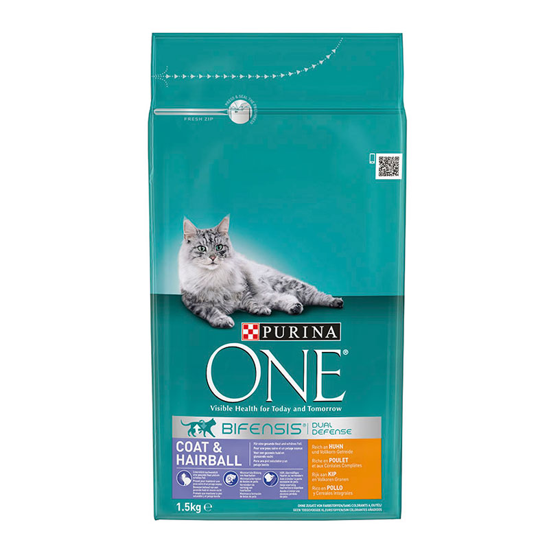 Purina One Adult Cat Coat & Hairball Chicken & Whole Grain Cereals
