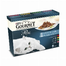 Gourmet Perle Slices in Sauce with Beef Chicken Rabbit Salmon 8x85gr